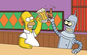 Homer y Bender brindando.