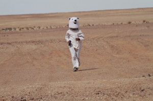 Corredor taiwanés disfrazado de oso polar durante la Sahara Marathon. / http://www.proyectosahara.com