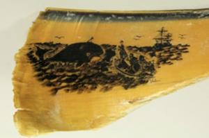 Escena de caza de la ballena en barba de ballena.