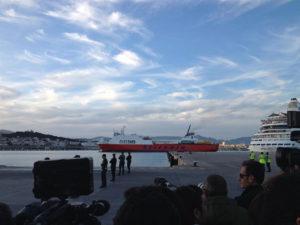 Los evacuados han llegado al Puerto de Palma. / Foto: Europa Press.