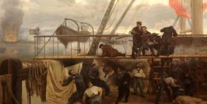 Casto Méndez Núñez cae herido en el puente de la fragata Numancia  durante el bombardeo de El Callao.