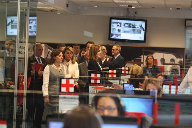 Visita de Doña Letizia a las instalaciones de Cruz Roja en Madrid.