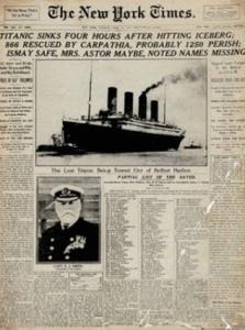 Reproducción de la portada del The New York Times del 16 de abril de 1912.