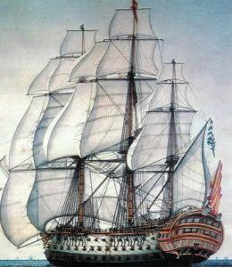 Recreación de un navío español.