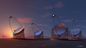 Representación artística de los cuatro telescopios gigantes propuestos para el CTA. / Foto: IFAE, Consorcio CTA.