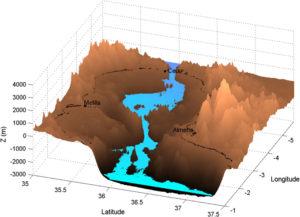 Vista tridimensional del Mar de Alborán con el nivel del agua después de 15 días.