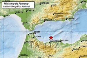 Epicentro del terremoto que afectó a Melilla en enero.