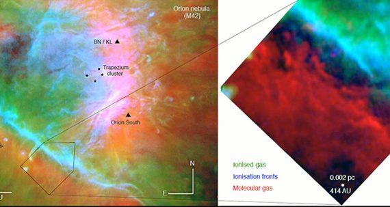 Obtenida la primera imagen en alta resolución del borde de la nube molecular de Orión