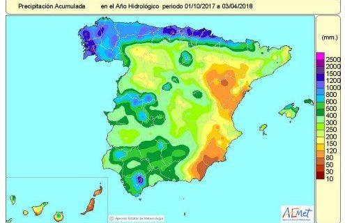 El año hidrológico registra un 8% más de lluvias de lo normal gracias a las precipitaciones de finales de marzo