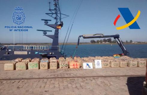 Aprehendidas más de seis toneladas de hachís en las costas de Huelva