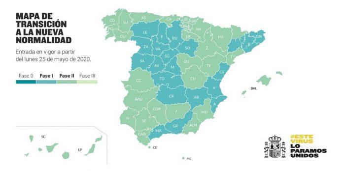 Todos los territorios españoles se encuentran ya en Fase 1 o Fase 2