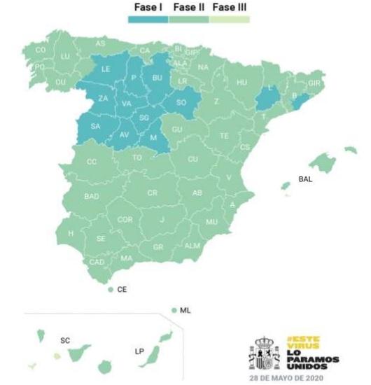A partir del lunes, casi el 70% de España estará en Fase 2