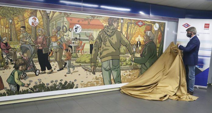 Un mural en la estación de Metro de Plaza de Castilla, homenaje de Madrid a sus mayores
